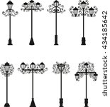 street lamps  vector drawing ... | Shutterstock .eps vector #434185642