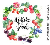 watercolor vector eco food... | Shutterstock .eps vector #434186278