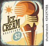 ice cream retro poster design... | Shutterstock .eps vector #434197486