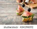 spanish serrano ham skewers... | Shutterstock . vector #434198392