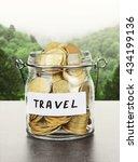 jar for savings full of coins... | Shutterstock . vector #434199136