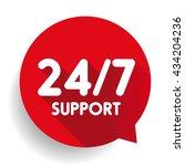 blue 24 7 support button | Shutterstock .eps vector #434204236