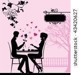 silhouette of the couple in the ... | Shutterstock .eps vector #43420627