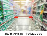 view from shopping cart trolley ... | Shutterstock . vector #434223838