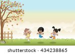 green grass landscape with cute ...   Shutterstock .eps vector #434238865