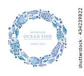 Watercolor Sea Blue Fish. Ocea...