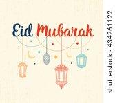 eid mubarak vector card.... | Shutterstock .eps vector #434261122
