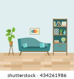 living room with sofa and book... | Shutterstock .eps vector #434261986