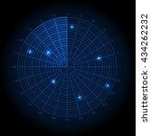 blue radar screen. vector... | Shutterstock .eps vector #434262232
