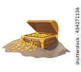 wooden treasure chest with gold ... | Shutterstock .eps vector #434271136