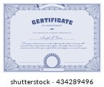 blue certificate template with... | Shutterstock .eps vector #434289496