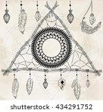 triangular dreamcatcher with... | Shutterstock .eps vector #434291752