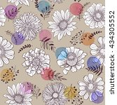 seamless pattern from flowers... | Shutterstock .eps vector #434305552