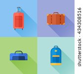set of travel bags flat icons.... | Shutterstock .eps vector #434308516