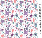 funny pattern with cute... | Shutterstock .eps vector #434313712