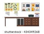 flat garage inside. working... | Shutterstock .eps vector #434349268
