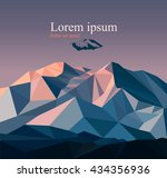 vector snow mountains peak ... | Shutterstock .eps vector #434356936