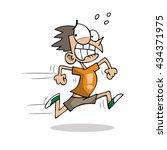 kid running scared | Shutterstock .eps vector #434371975