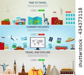 three travel and tourism...   Shutterstock .eps vector #434373118