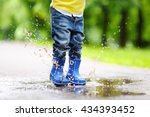 toddler jumping in pool of... | Shutterstock . vector #434393452