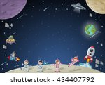 astronaut cartoon characters on ... | Shutterstock .eps vector #434407792