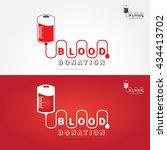 logotype blood donation  help... | Shutterstock .eps vector #434413702