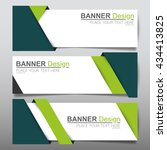 Stock vector collection green fold horizontal business banner set vector templates clean modern geometric 434413825