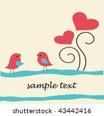 birds under heart tree.... | Shutterstock .eps vector #43442416