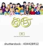 children boy girl smile go... | Shutterstock . vector #434428912