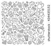 coffee house vector set. line... | Shutterstock .eps vector #434435152