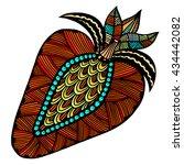 strawberry hand drawn pattern... | Shutterstock .eps vector #434442082