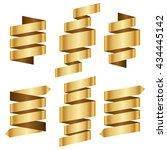 gold banner ribbon vector set... | Shutterstock .eps vector #434445142