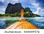 traditional long tail boat on... | Shutterstock . vector #434449576