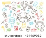 set of cute hand drawn doodle | Shutterstock .eps vector #434469082