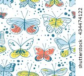 seamless pattern with butterfly.... | Shutterstock .eps vector #434474122