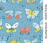 seamless pattern with butterfly.... | Shutterstock .eps vector #434474146