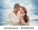 teasing couple outdoors in... | Shutterstock . vector #434483302