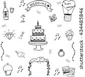 wedding in doodle hand draw... | Shutterstock .eps vector #434485846