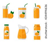 orange juice isolated icons on... | Shutterstock .eps vector #434494636