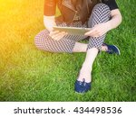 woman with tablet  | Shutterstock . vector #434498536