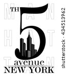 5th fifth avenue new york city... | Shutterstock .eps vector #434513962