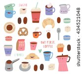 super cute set of coffee icons  ... | Shutterstock .eps vector #434521048