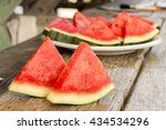 seedless watermelon cut into... | Shutterstock . vector #434534296
