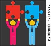 merger concept. two businessmen ... | Shutterstock .eps vector #434537362