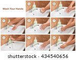 wash your hands steps. cleaning ... | Shutterstock . vector #434540656