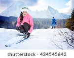 a man cross country skiing in... | Shutterstock . vector #434545642