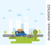 food truck selling hamburger... | Shutterstock .eps vector #434547622