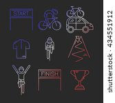 set of 9 bicycle race modern... | Shutterstock .eps vector #434551912