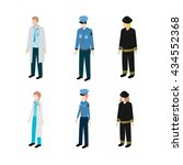 set of occupations police ... | Shutterstock .eps vector #434552368