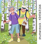 aged couple hiking at birch... | Shutterstock .eps vector #434565166